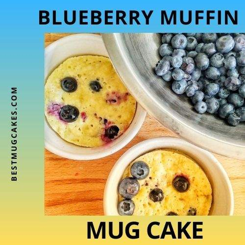 Blueberry muffin mug cake (two blueberry mug cakes beside a bowl of fresh blueberries)